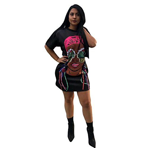 Cartoon Pencil Sexy Dress Black Short Women Coolred Hwxa5nzBzq