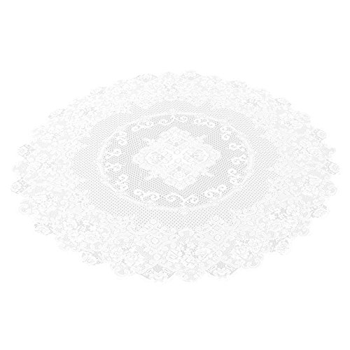 Lace Tablecloth - 54 Inch - Round Tablecloth with Elegant Floral Patterns - Suitable for Most Home Decor- Perfect for Birthday Parties, Wedding Receptions, Baby Showers, Dining Room Tables, White