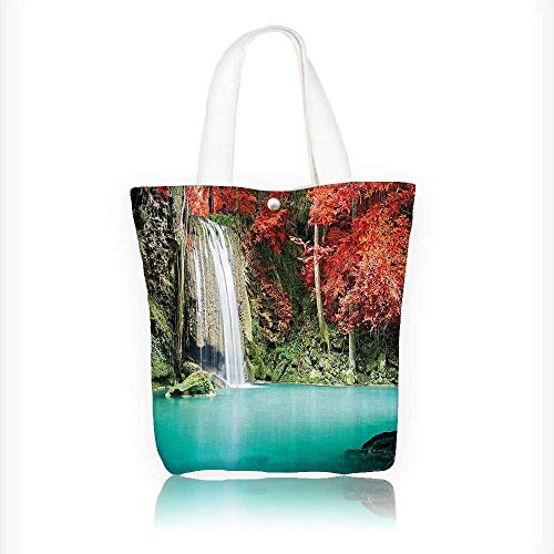 Canvas Beach Bags rner of the Deep Forest with ll Oak Trees Red and Blue Totes for Women Zippered Beach Shoulder Bag W16.5xH14xD7 INCH