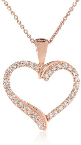 Rose Goldtone Finish Silver Cubic Zirconia Heart Pendant Necklace, 18""