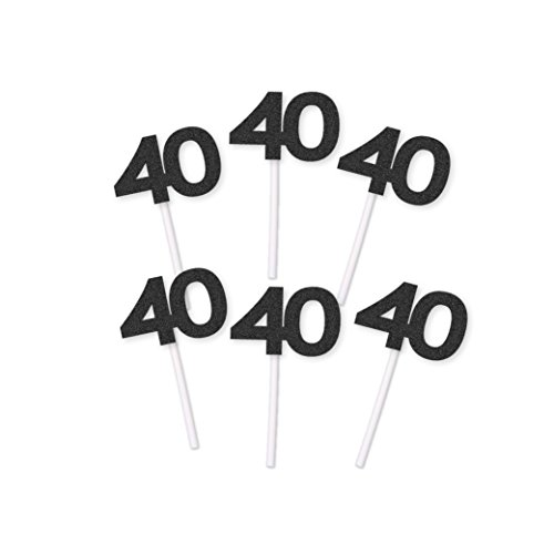 40th Birthday Cupcake Toppers (20 count) Black Glitter - Forty 40 Fortieth Anniversary Party Decoration Retirement