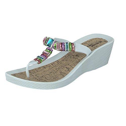 Linea Scarpa Malibu Beach Shoes Flip Flops DIANETTE Heel Ladies White
