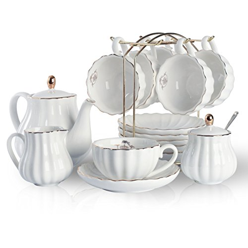 Porcelain Tea Sets British Royal Series, 8 OZ Cups& Saucer Service for 6, with Teapot Sugar Bowl Cream Pitcher Teaspoons and tea strainer for Tea/Coffee, Pukka Home (Pure White) ()