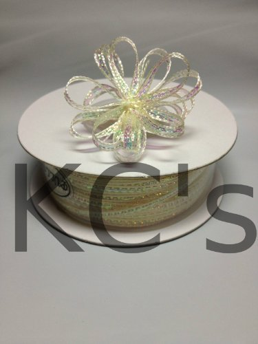 "1/8"" 50 Yards Ivory Organza Iridescent Center with String Pull Ribbon Bow"