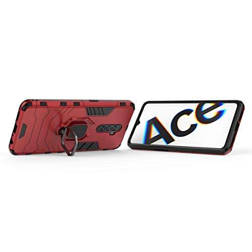 FanTing Case for Oppo Realme X2 Pro, Rugged and shockproof,with mobile phone holder, Cover for Oppo Realme X2 Pro-Red