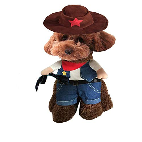 (QLINLEAF Christmas Funny Pet Dog Cat Costume West Cowboy Uniform with Hat Set Cute Clothes Suit Dressing up Party S Size)
