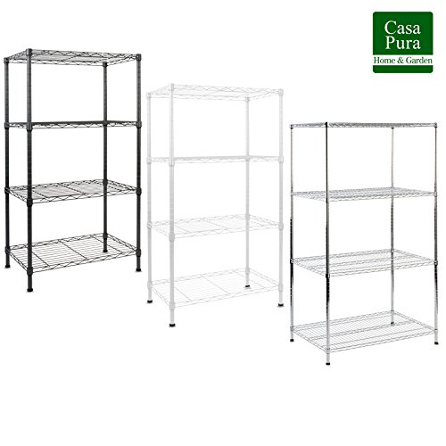 "casa pura Metal Storage Shelves | Wire Shelving Organizer for Kitchen, Garage or Bathroom | Black – 5 Tier | 22""x14""x44"" 