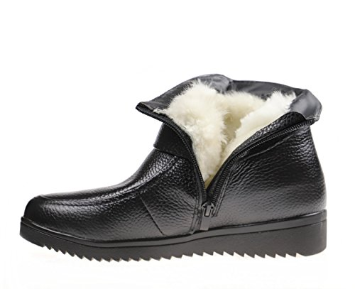 Bigwanbig New Autumn Winter Women Fashionable Casual Retro Handmade Lace Leather Round Toe Warm Heel Ankle Boots (And Fur-lined) (7B(M) US=EU38=240mm, Wool-lined Black) (Womens Casual Winter Boots)