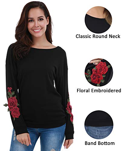 (FISOUL Women's Casual Crew Neck Blouse Long Sleeve Floral Embroidered Pullover Sweatshirts Black)