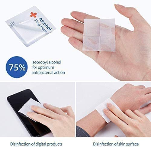 400 Pcs 75% Alcohol Cotton Slices, Alcohol Gauze Pads Individually Wrapped Swap Pad for Cleaning Care Mobile Phone Nail Computer 6 x 6cm/2.4in x 2.4in