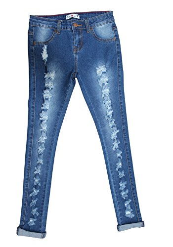 Teen Gs Jeans and Twill for Girls Skinny Jeans for Girls with Ripped Denim and Distressed Stretch Fabric Slim Fit Pants,kp33