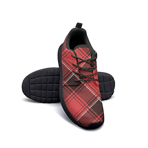 Red White British Plaid Lattice Mosaic Man's Canvas Casual Shoes Sneakers gymCoach Walking Shoes