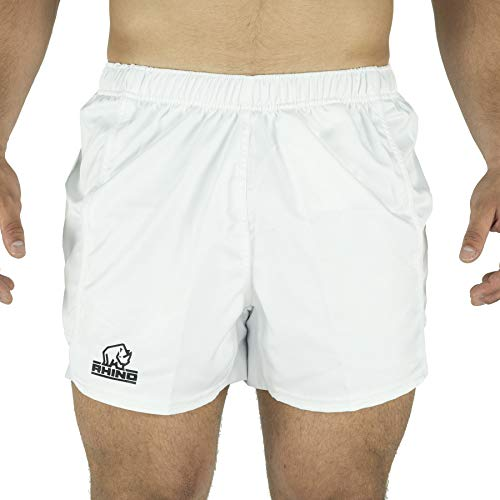 White Rugby Shorts - Rhino Performance Rugby Shorts (White, L)