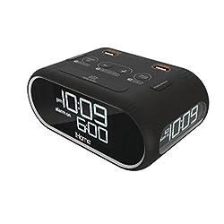 Homitem LCD Triple Display Alarm Clock With Dual USB Charging