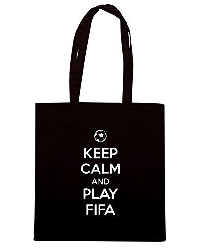 T-Shirtshock - Bolsa para la compra TGAM0041 Keep Calm and play Fifa Negro
