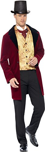 Edwardian Costumes Amazon (Smiffy's Men's Edwardian Gent Deluxe Costume, Jacket, Mock Waistcoat and Cravat, Tales of Old England, Serious Fun, Size M, 43419)