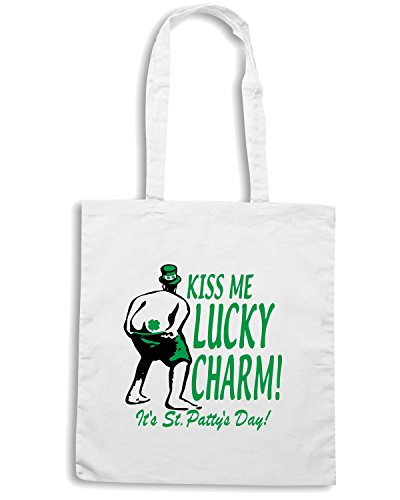 T-Shirtshock - Borsa Shopping TIR0133 kiss me lucky charm ash grey tshirt Bianco