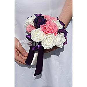 Pink, Purple & Ivory Rose Lisianthus Anemone Bridesmaid Bouquet 51