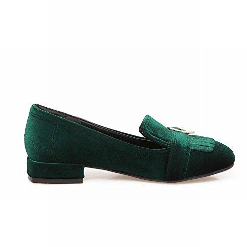 Cour Pompons Occidentaux Carolbar Plates Carré Pied Chaussures De Femmes De Charme Des De La Vert xxTv4n