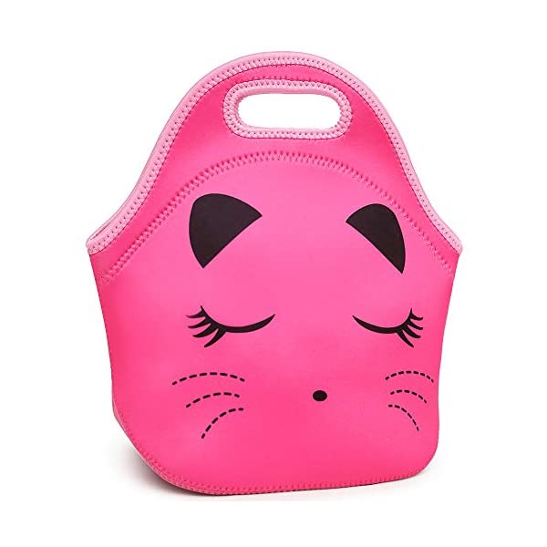 Moonmo Cat Face Unicorn Face Insulated Neoprene Lunch Bag for Women and Kids - Reusable Soft Lunch Tote for Work and School (Cat Black) 8