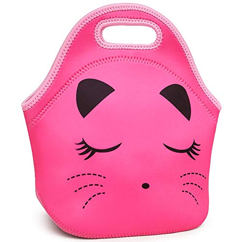 Moonmo Cat Face Unicorn Face Insulated Neoprene Lunch Bag for Women and Kids - Reusable Soft Lunch Tote for Work and School (Cat Rose)