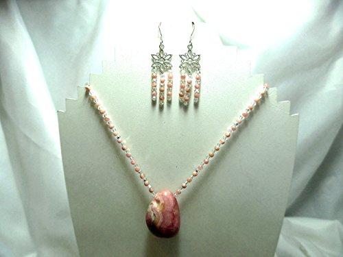 Pink rhodochrosite, Swarovski crystal and sterling silver pendant necklace set ()