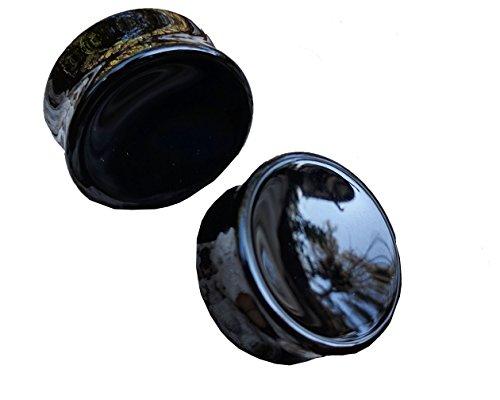 Bandaru Organics Concave Black Obsidian Plugs (Plugs Gauged)