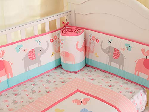 Baby Breathable Crib Bumper Pads for Standard Cribs 100% Cotton Crib Liner 4 Piece/Light Living Coral Elephant Floral Pattern