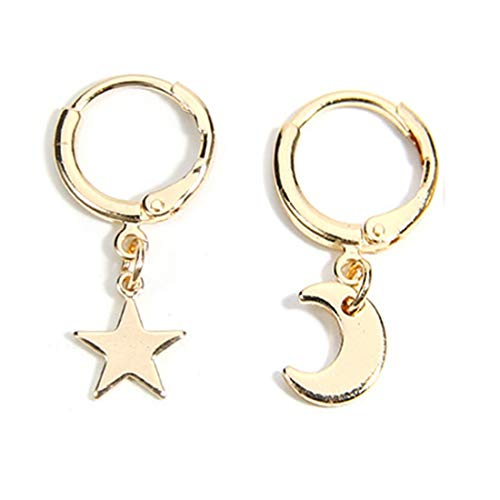 (Gold Tone Circle Round Hoop Earrings Moon and Star Charms Round Hinged Drop Stud Earrings-gold)
