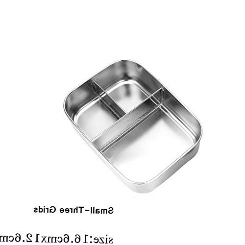 Mikash New Storage Outdoor Bento Food Container Lunch Box Stainless Steel heatable new   Model FDCNTNR - 812   Small-Three Grids