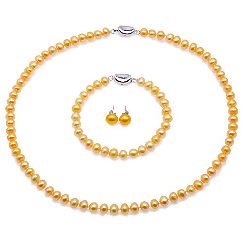 - JYX Pearl Necklace Set 6-7mm AA Golden Freshwater Cultured Pearl Necklace Bracelet and Earrings Jewelry Set