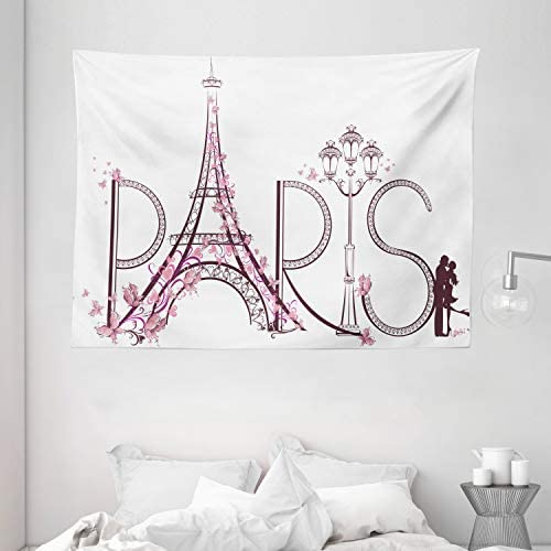 Ambesonne Paris Tapestry, Tower Eiffel with Paris Lettering Couple Trip Flowers Floral Design Print, Wide Wall Hanging for Bedroom Living Room Dorm, 80 X 60 , Pink Plum