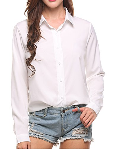 SE MIU Women's Chiffon Long Sleeve Button Office Blouse Polka Dot Casual Top Shirts
