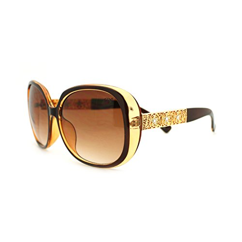 Diva Rhinestone Celtic Jewel Temple Oversized Butterfly Sunglasses Brown