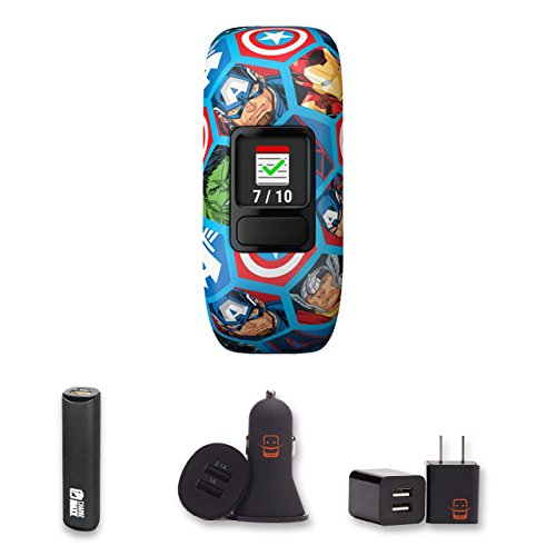 Garmin Vivofit Jr.2 (Stretchy Avengers) + PowerBank + USB Car Charger + USB Wall Charger, EZEE Bundle by E Zee Electronics