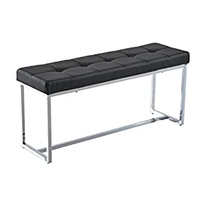"HomCom 39"" Contemporary Tufted PU Leather Chrome Base Entryway Bench (Black)"
