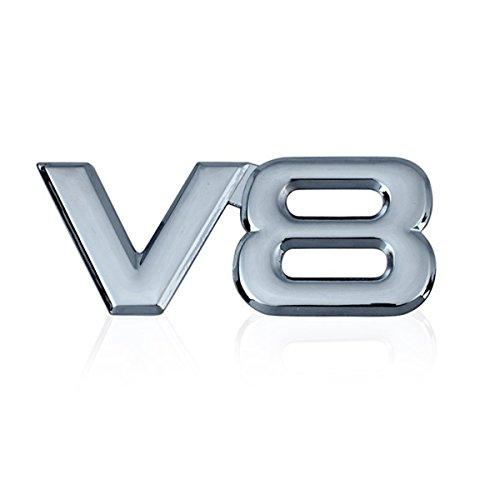 (Dsycar 3D Metal Car Decoration Metal Adhesive V8 Truck Car Badge Emblem Sticker for Universal Cars Moto Bike Car Styling Decorative Accessories (V8-Silver))