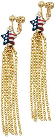 Mini USA Patriotic Star Gold Tone Chain Tassel Clip On Earrings