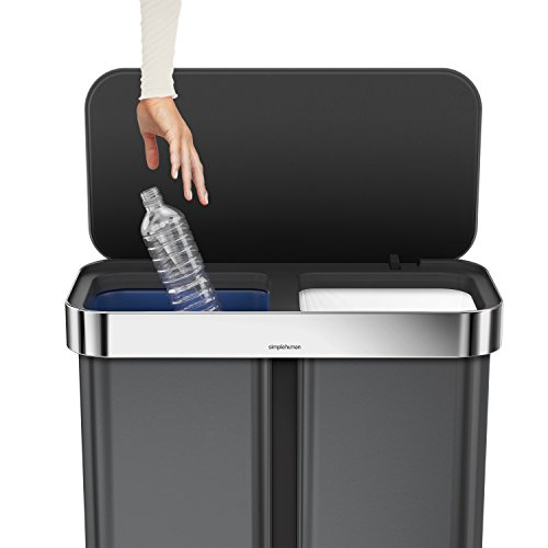 simplehuman Dual Compartment Step Can Recycler with Liner Pocket, 58 L/15 gallon, Black Stainless Steel