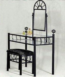 Black Metal Bedroom Vanity with Glass Table & Bench Set