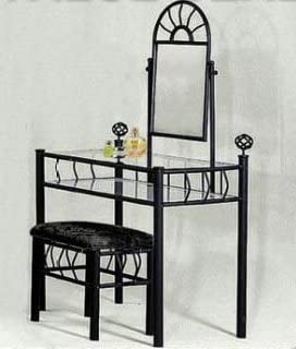 Black Metal Bedroom Vanity with Glass Table Bench Set