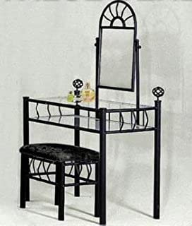 Amazoncom Black Metal Bedroom Vanity with Glass Table Bench