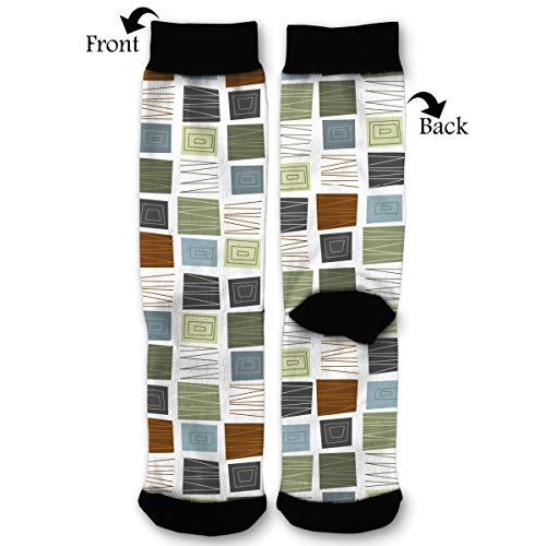 Primede Mid Century Modern Cool Square Art Quarter Dress Mid Calf Knee Crew Socks Calf Knit Hosiery Female Ladies Women Girl Teen Kid Youth Themed Clothing Party Clothes Dresses Apparel Ankle