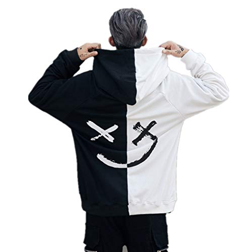Hoodies Pull Kangourou Face Blanc À Capuche Longues Smile Imprime Blouse Basique Casual Manches Sportif Mode Sweat Homme Tops Poche 0aqA6