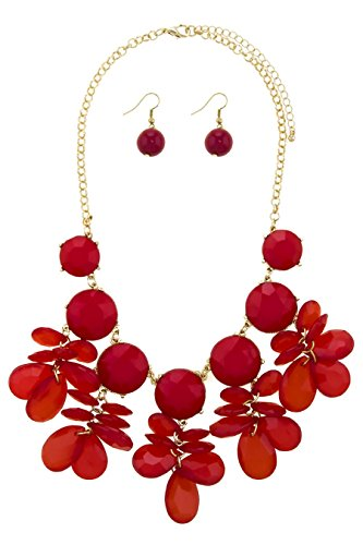 TRENDY FASHION JEWELRY TEARDROP FAUX STONE FRINGE STATEMENT NECKLACE SET BY FASHION DESTINATION | (Red)