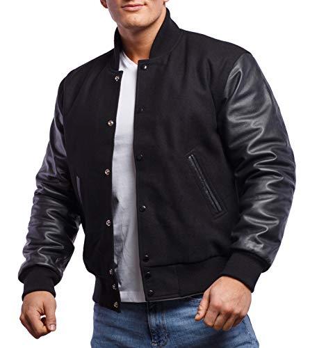 Varsity Base Letterman Jacket (10 Options) - Melton Wool Body & Premium Leather Sleeves - S to 2XL (All Black, X-Large) -