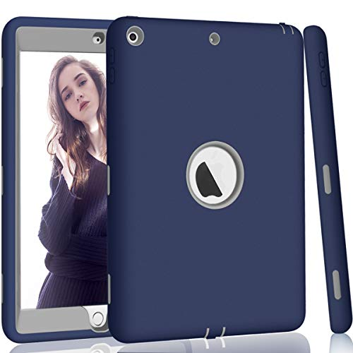 Hocase iPad 5th/6th Generation Case, iPad 9.7 2018/2017 Case, High-Impact Shock Absorbent Dual Layer Silicone+Hard PC Bumper Protective Case for iPad A1893/A1954/A1822/A1823 - Navy Blue/Grey (Harness Case Protective)
