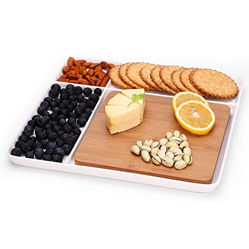 Ceramic Divided Plate with Bamboo Cutting Board - Cheese Board Salad Plate Dinner Plate Cake Plate - Gift Idea - Great Use as Any Occasion (White)