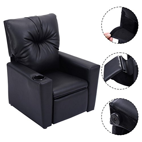 Bedroom Leather Chair (Kids Recliner with Cup Holder Black Leather Sofa Chair Recliners Chairs for Children)