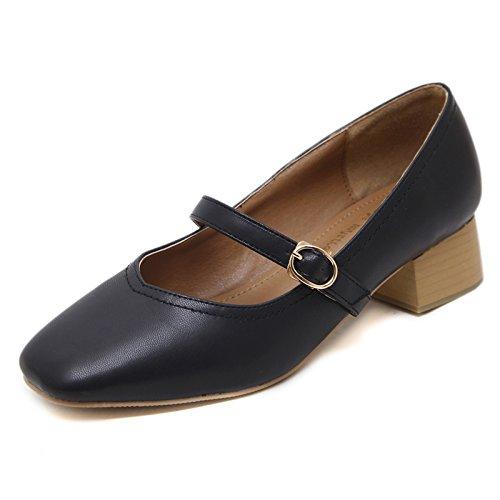 KHSKX-Retro Con Gruesos Con Zapatos Todos Coinciden Shallow Boca Cabeza Una Hebilla Abuela De Zapatos Zapatos De Trabajo black